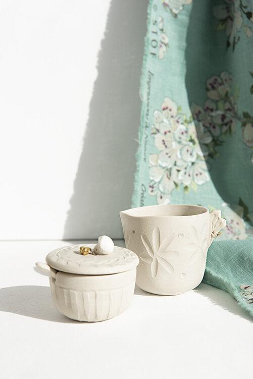 Açucareiro com colher Anna Westerlund Ceramics