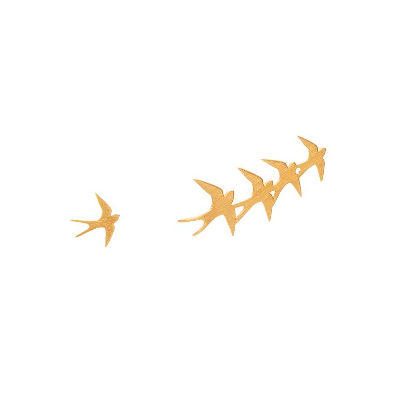 Brincos Andorinhas Assimétricos Dourados