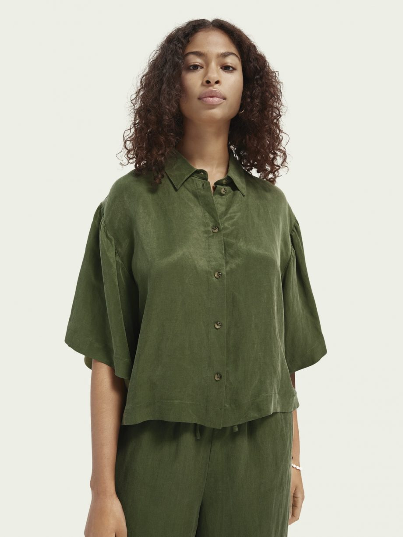 Camisa em Mistura de Linho-Violet and Ginger
