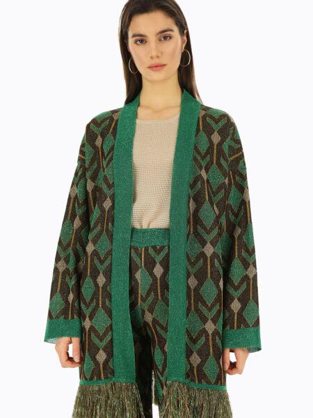 Kimono estampado lurex