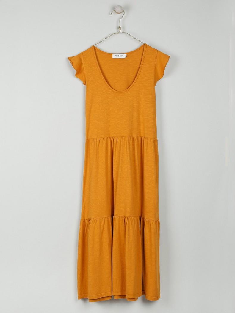 Vestido liso midi cor mostarda