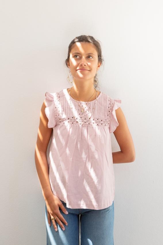 Túnica de renda em algodão e linho rosa