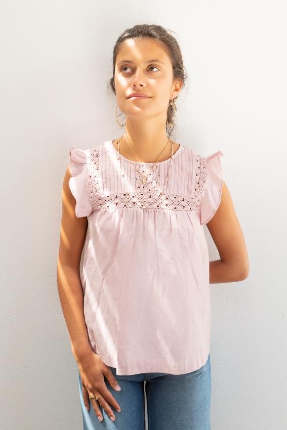Túnica de renda em algodão e linho rosa-3