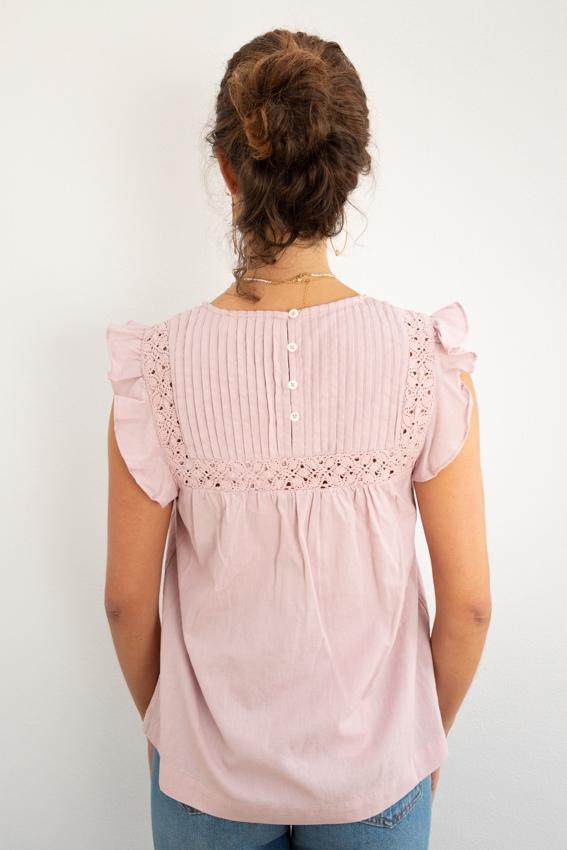 Túnica de renda em algodão e linho rosa-1