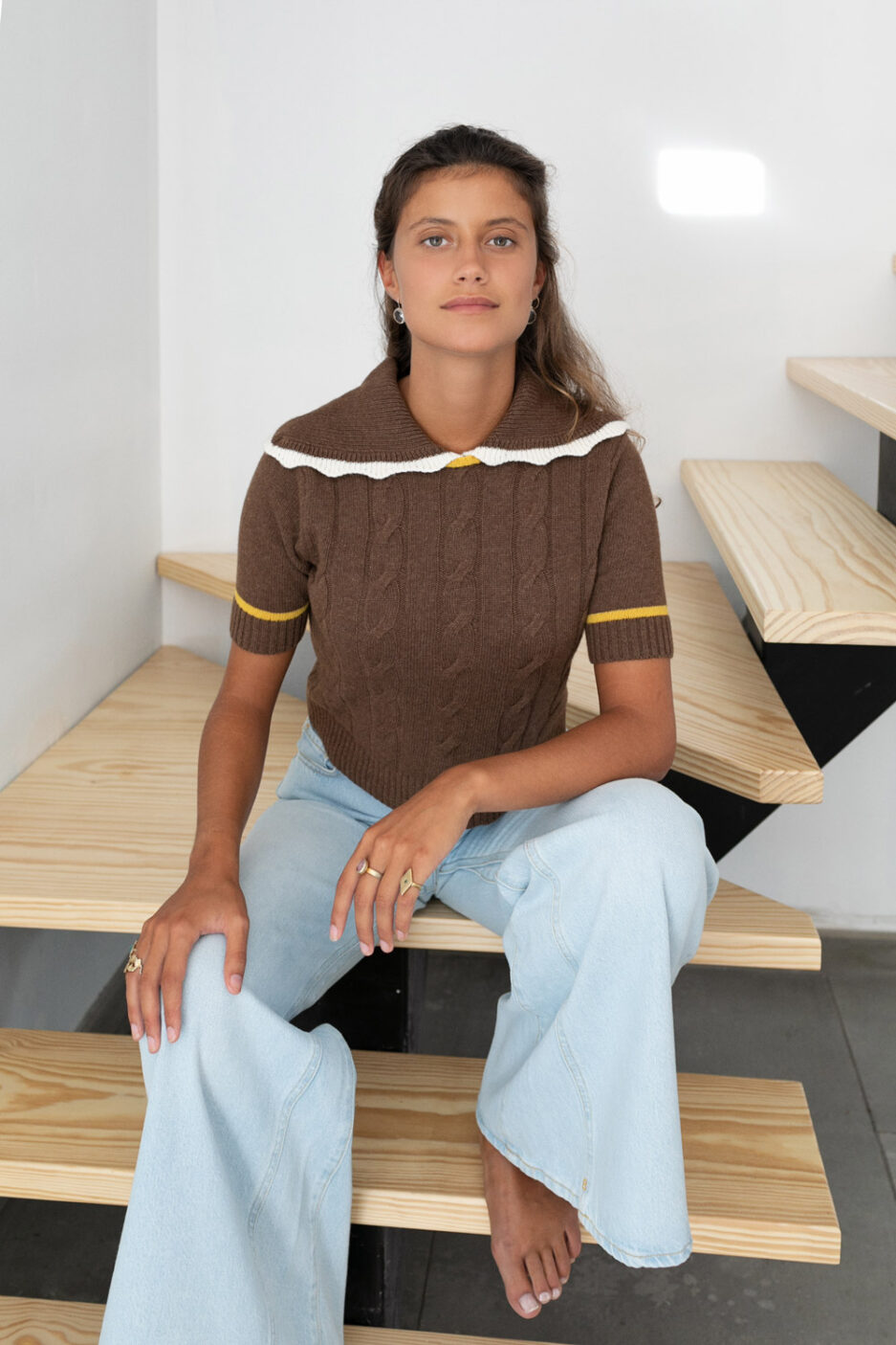 Camisola de manga curta com gola
