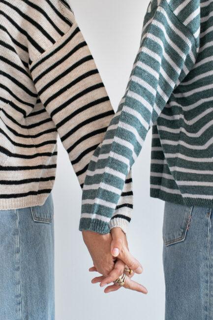 Camisola de riscas em lã e alpaca-Violet&Ginger