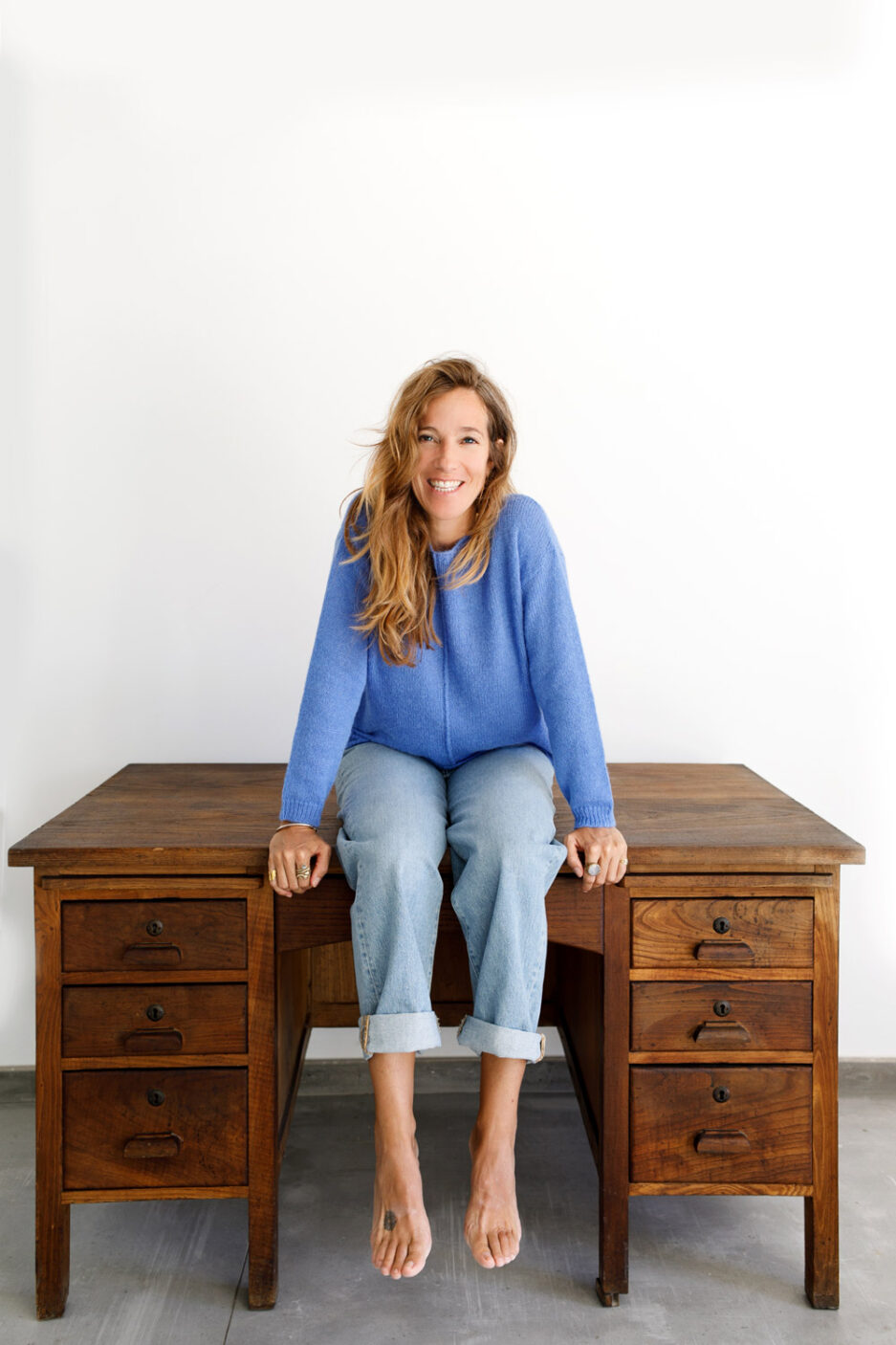 Camisola azul com decote em barco-Violet&Ginger