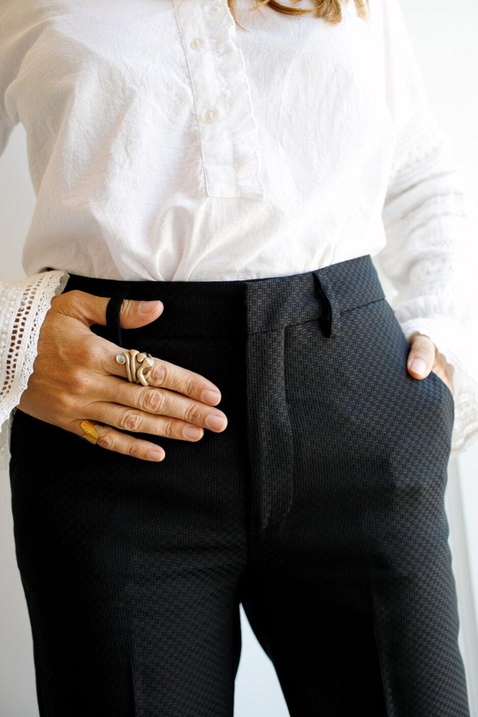 Calças de fato pretas com textura-Violet&Ginger