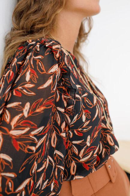 Blusa com manga 3/4 estampada-Violet&Ginger